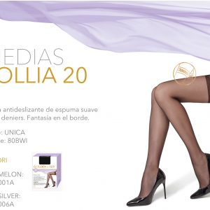 Media antideslizante de espuma suave de 20 deniers. Golden Lady