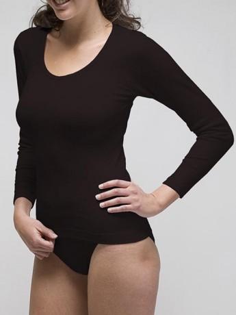 Camiseta básica manga larga mujer algodón-elastano.