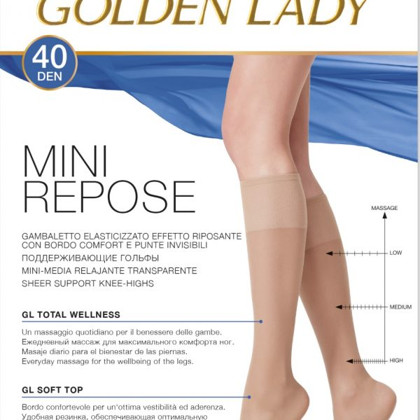 Mini-media suave y resistente con lycra de 40 deniers. Golden Lady