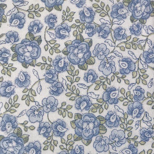 Tela popelina flor azul pequeña.