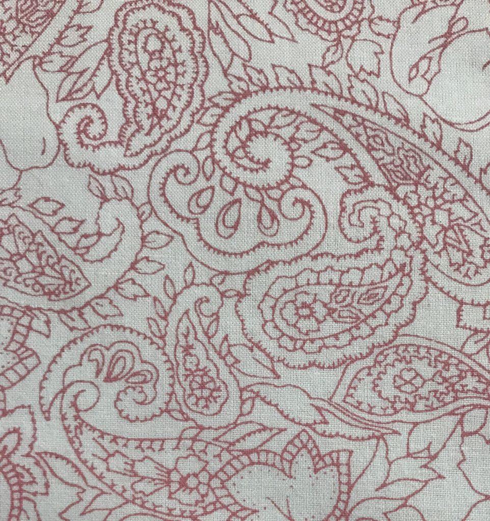 Tela popelin Cachemir blanca/rosa.