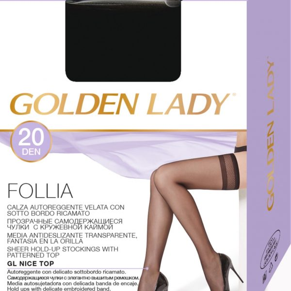 Media antideslizante de espuma suave de 20 deniers. Golden Lady