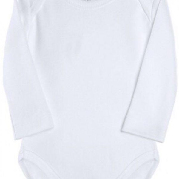Body bebé cuello americano manga larga. Blanco