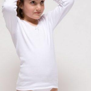 Camiseta termal para niña de manga larga, blanca.