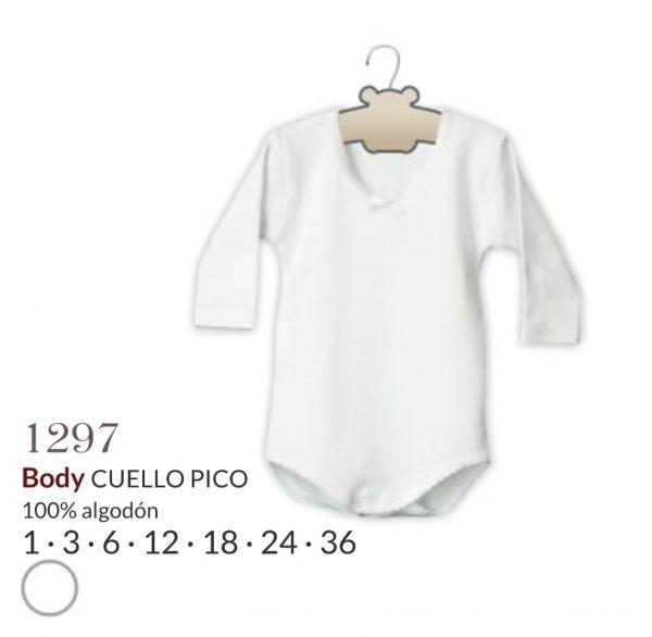 Body cuello de pico en blanco. 100% algodón.